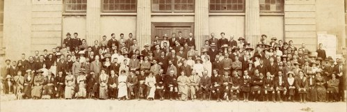 Gaelic League National Convention at Galway Town Hall Theatre in 1913. Thomas Ashe seated in front row, 10th from right. Nora Ashe seated in front row, 5th from right.