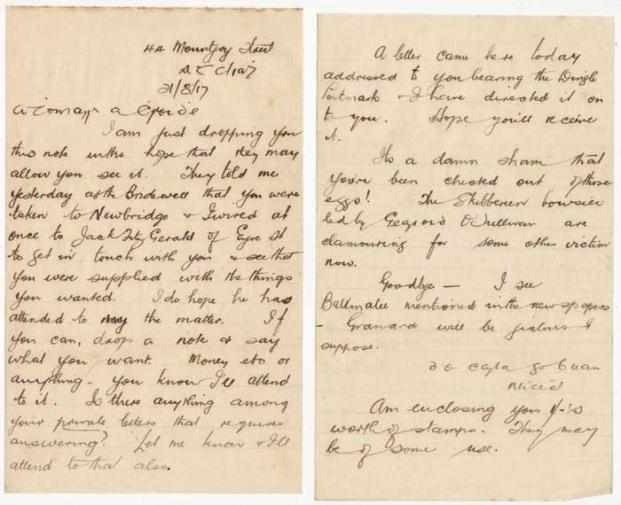 Letter from Michael Collins to Thomas Ashe 21-8-1917.