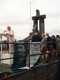 Reciting Thomas Ashe poem Let Me Carry Your Cross for Ireland, Lord