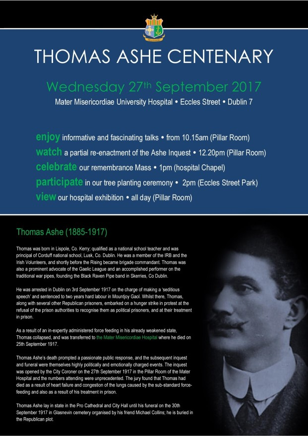 Thomas Ashe commemoration at Mater Hospital